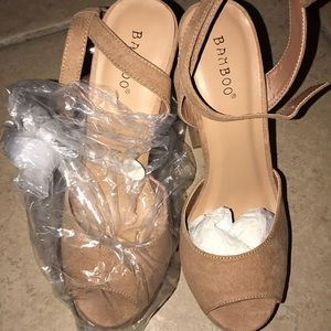 Brand new bamboo heels